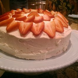 White Cake with Strawberries and Meyer Lemon/Vanilla Frosting