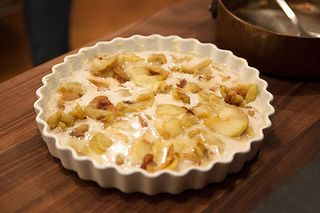 Add the apples to the batter