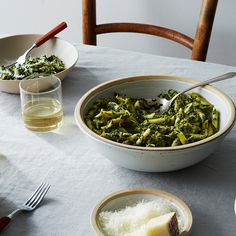 Penne with Creamed Greens and Pancetta