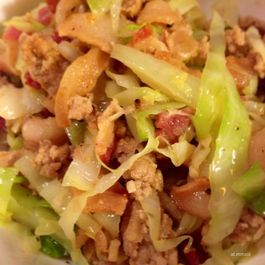 cabbage+bacon+ground turkey