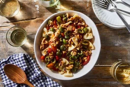 Pasta Salad With Roasted Peppers, Green Olives, Walnuts & Anchovies
