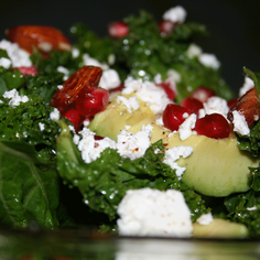 Nordic kale with goat feta and pomegranate