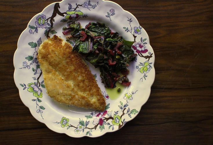 Breaded Chicken Cutlets with Wilted Chard