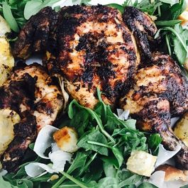 TUSCAN ITALIAN BRICK CHICKEN WITH ARUGULA AND SPINACH BREAD SALAD