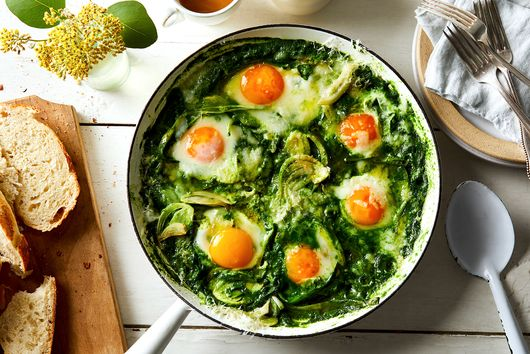 Green Shakshuka With Cheese Recipe