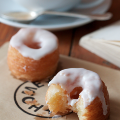 Cronuts with vanilla pastry cream and orange blossom glaze