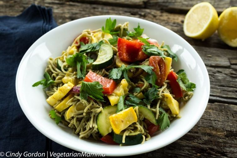 Edamame Spaghetti with Roasted Vegetables
