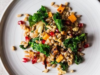 Dinner Tonight: Farro with Roasted Sweet Potato, Kale, and Pomegranate Seeds