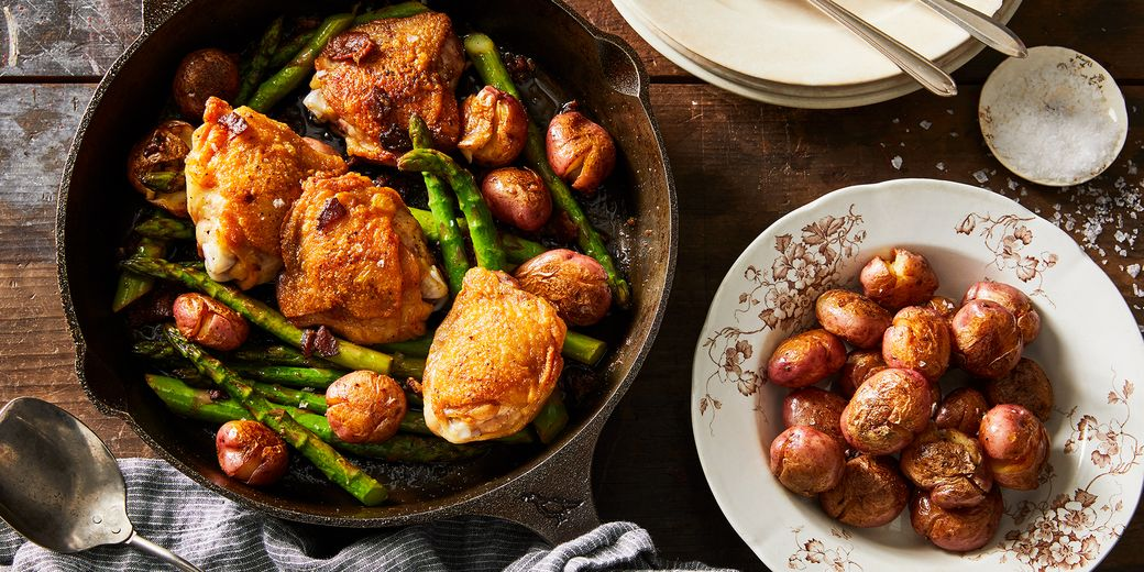 With asparagus, bacon, and schmaltz-fried potatoes.