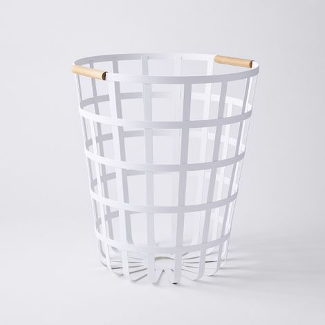Round Steel & Wood Laundry Hamper