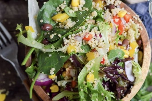 Quinoa Black Bean Summer Salad with Tahini Dressing