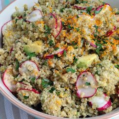 Quinoa salad with radishes, avocado, and citrus vinaigrette