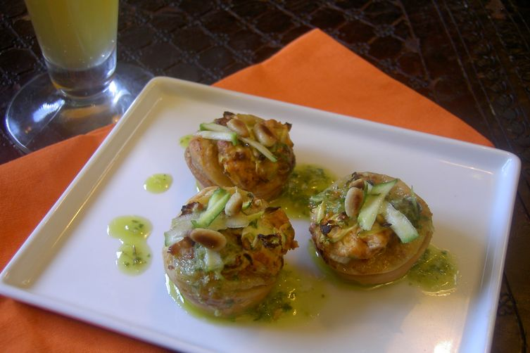 Zucchini & Chorizo Bites with Cilantro Lime Pesto