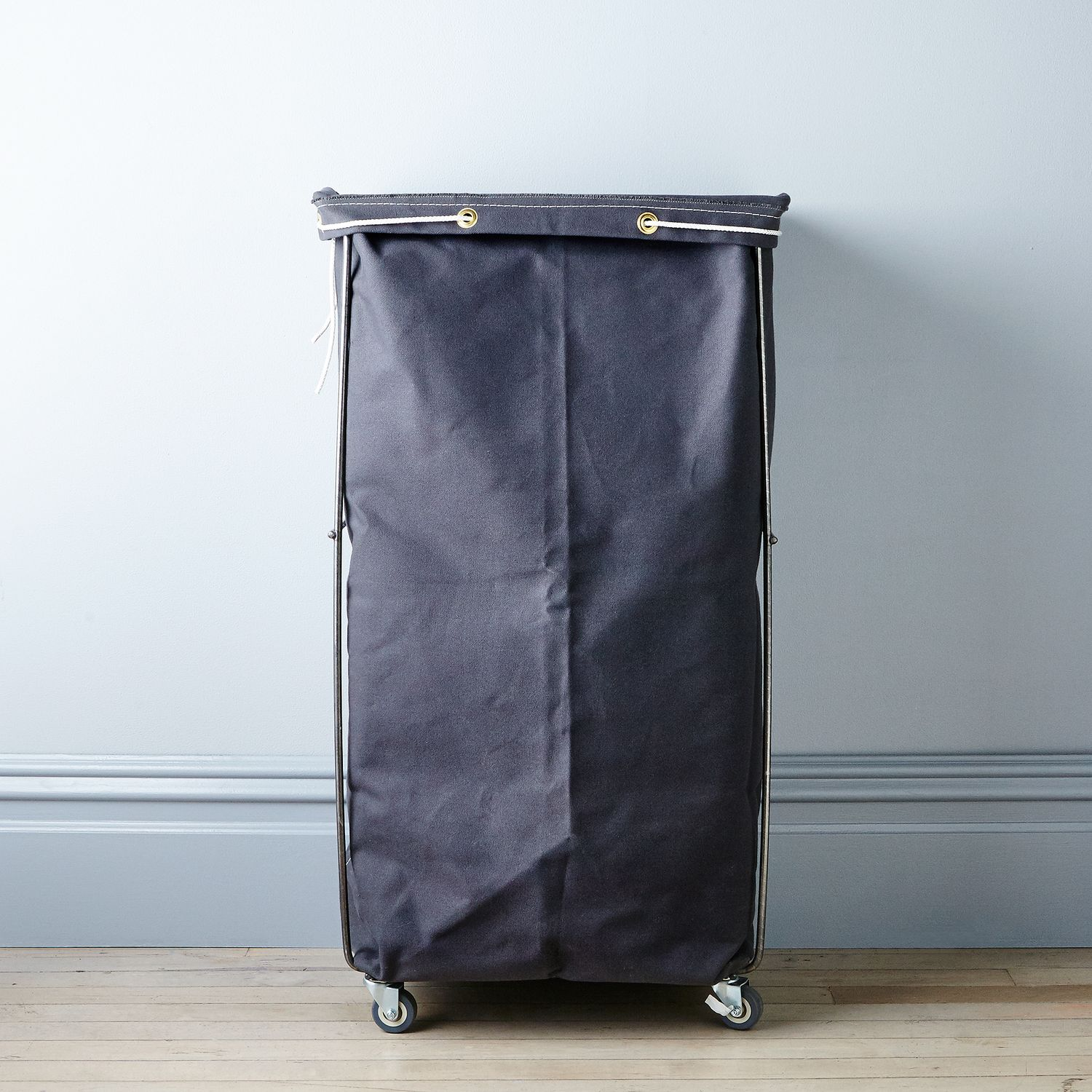 Grey narrow elevated laundry basket on food52 - Narrow clothes hamper ...