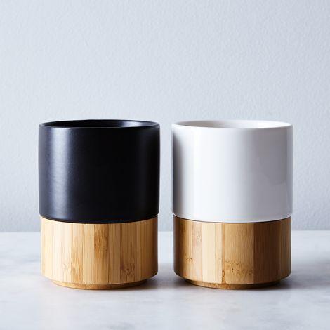 Magnetic Stoneware & Bamboo Mug