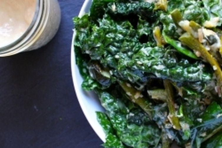 Roasted Asparagus & Zucchini Kale Salad w Toasted Coconut Honey Mustard Dressing