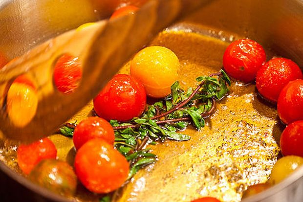 cherry tomato tequila butter salsa with fried fish cherry tomato