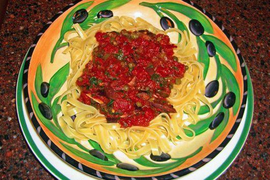 Puttanesca Sauce Over Tagliatelle Pasta