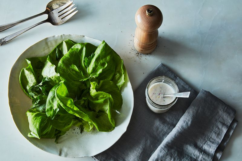 A nice rumply lettuce takes well to zippy, light yogurt dressing.