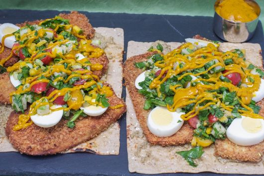 Open-Faced Sabich Sandwich with Spinach-Mango Potato Salad