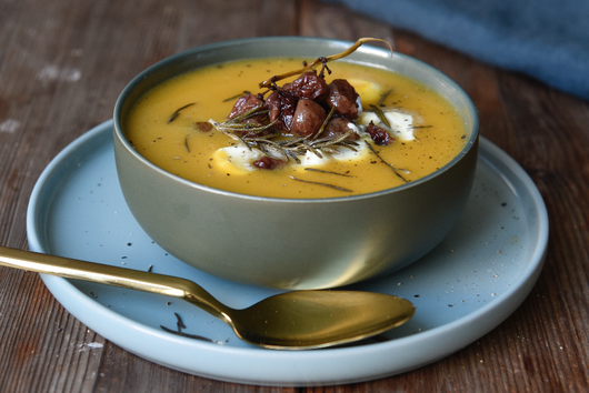 Squash, Parsnip & Sweet Potato Soup with Roasted Grapes & Mascarpone