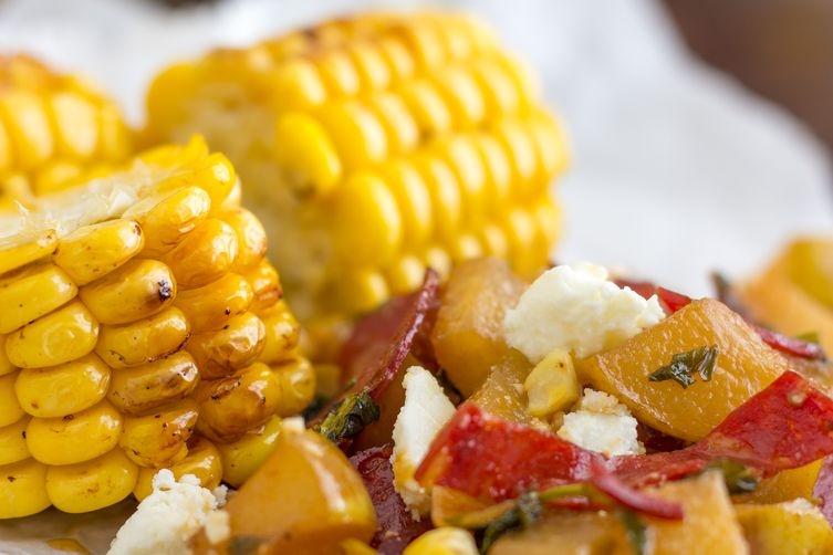 Grilled Corn with Pear Chorizo Salad