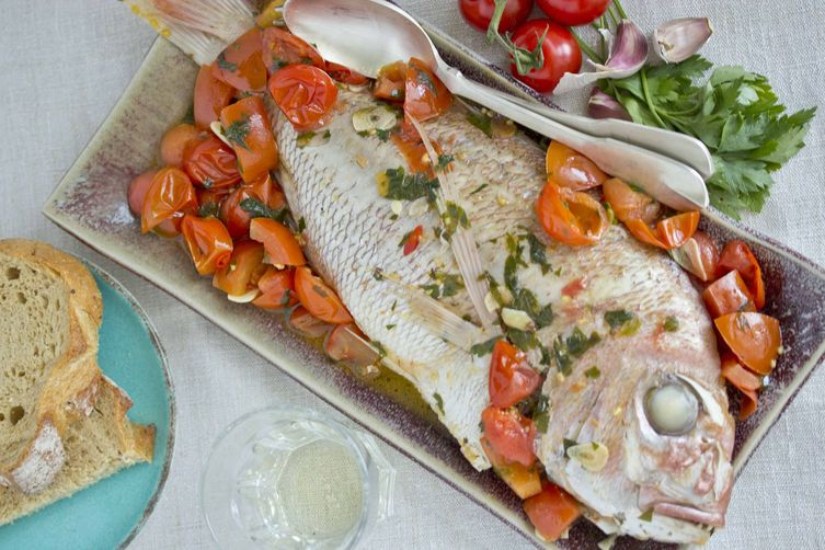 Fish Stewed with Tomatoes, Herbs and Garlic (Acquapazza) - Campania