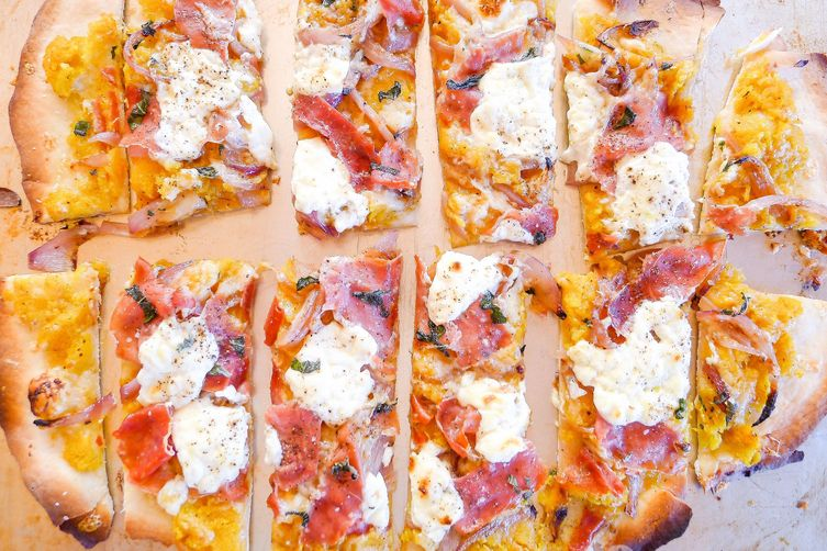 Pumpkin Prosciutto Flatbread with Sage, Ricotta and Caramelized Onion