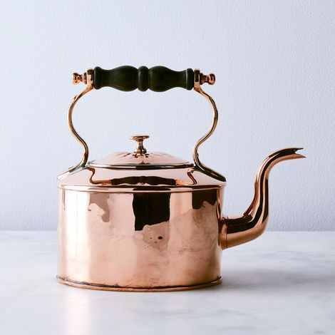 Vintage Copper English Embossed Tea Kettle, Mid 19th Century