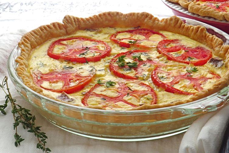 tomato bacon and onion quiche