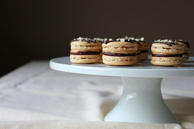 Chocolate and peanut butter macarons