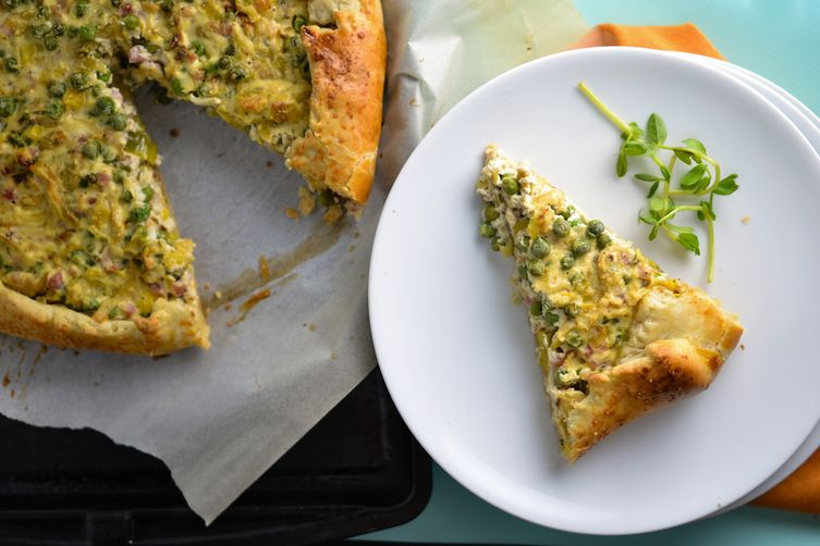 Caramelized Leek, Pea, and Pancetta Galette