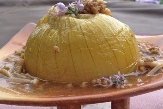 Onion On A Pedestal with Beef Enoki Sauce and Rosemary Flowers