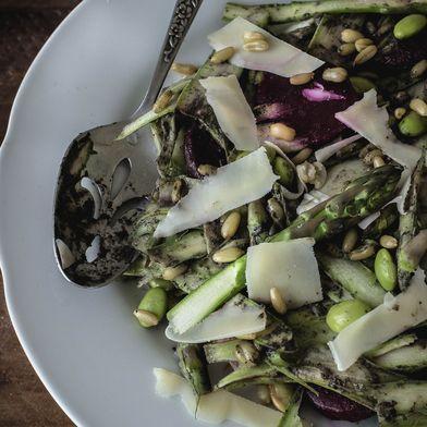 Shaved Asparagus and Kamut Grain Salad with Black Sesame Dressing