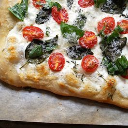 White Pizza with Ricotta, Yogurt, Tomatoes, and Basil