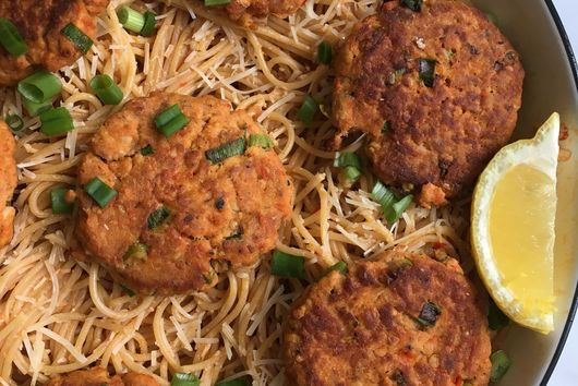 Salmon Cakes over Lemon Harissa Pasta