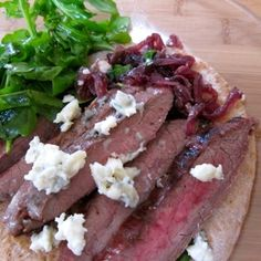 Open Face Steak Sandwich with Red Onion Jam and Blue Cheese