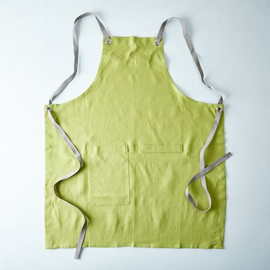 Fern Green Cross-Back Kitchen Apron with Slate Ties