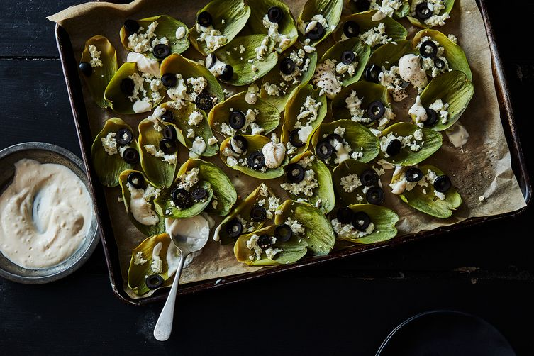 Roasted Artichoke Leaf Appetizer with Feta and Black Olives (& Cheater's Aioli)