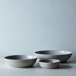 Grey Swirl Glass Shallow Bowls (Set of 4)