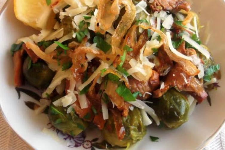 Butter Braised Chanterelles With Brussels Sprouts And Crispy Caramelized Shallot