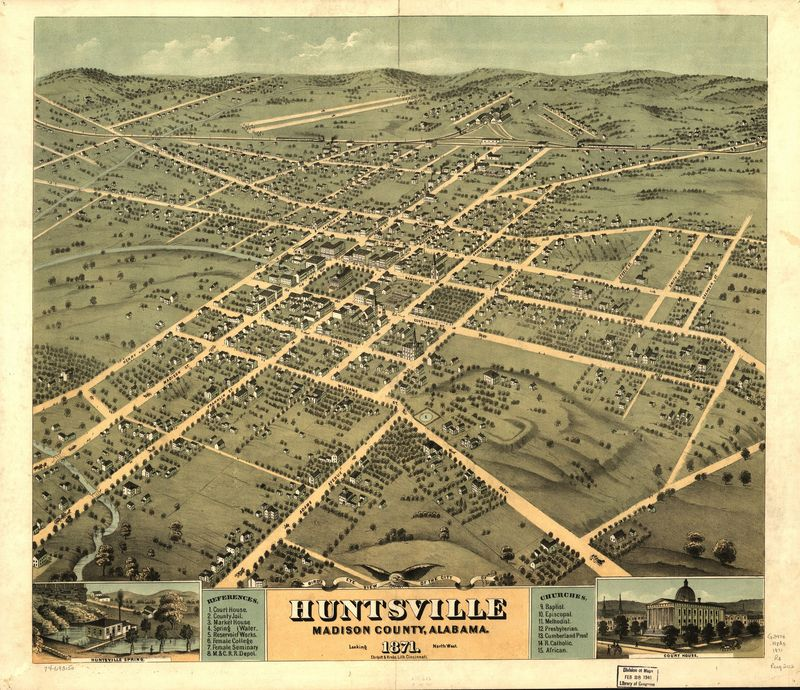 An 1871 map of Huntsville, Alabama.