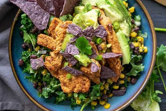 Baja Chicken Kale Salad With Avocado Lime Dressing