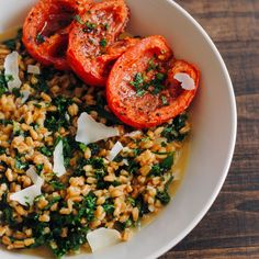Farro and Kale Risotto with Roasted Tomatoes