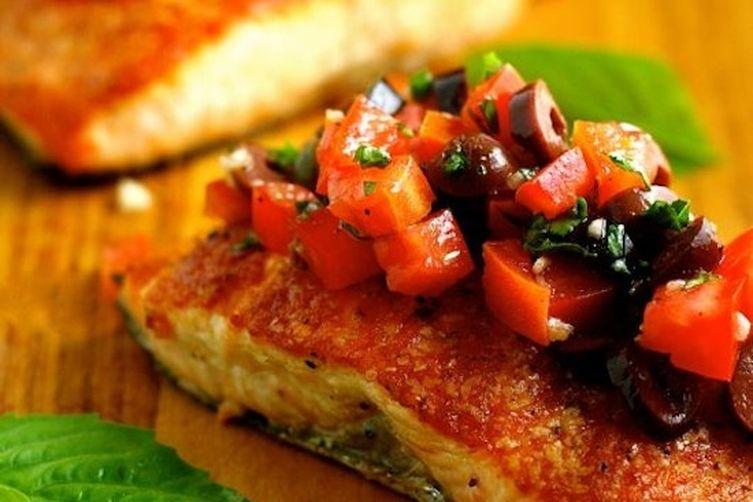 Pan-Seared Salmon with Tomato-Olive Salsa