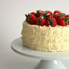 Strawberry and white chocolate cream cake