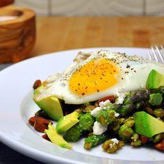 Farro with Asparagus Pesto, Avocado & Fried Egg