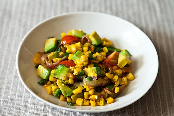 Charred Corn Salad with Avocado, Lime, and Tomato