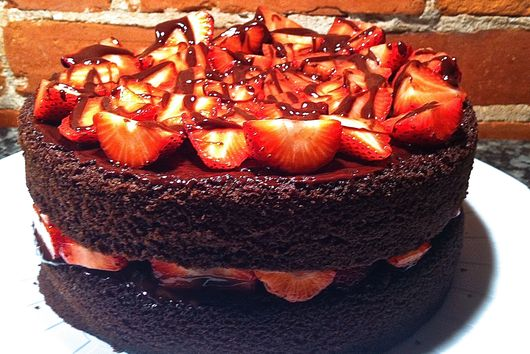 Devil's Food Cake with Strawberries and Chocolate Ganache