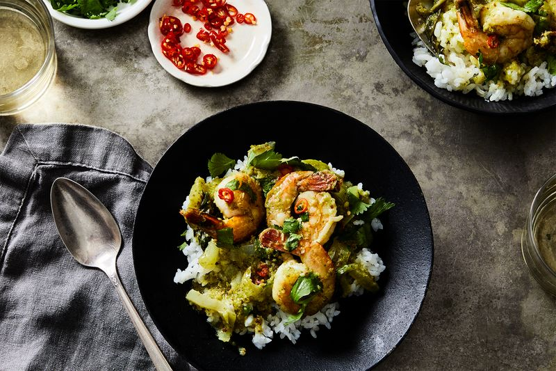 Green Curry with Shrimp and Baby Bok Choy
